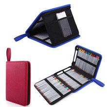 Portable 72 Slots PU Leather Foldable Pencil Case Large Capacity Color Zipper Pen Bag Stationery School Supplies(China)