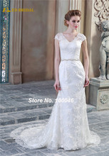 Vintage Lace Wedding Dress Real Photo Sexy See Through Back  Beaded Belt Elegant Bridal Dress CA36