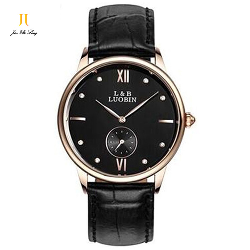 Brand Classic Fashion Business Quartz Watch Men Rhinestone Genuine Leather Strap Watches 2 Sub-Dial Clock Wristwatch Relogio<br><br>Aliexpress