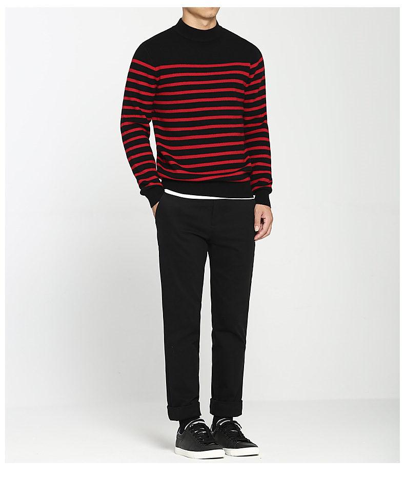 100% Wool sweater men turtleneck striped pure woolen mens sweaters male pullover autumn winter knitwear Brand Muls M-4XL 3126-02