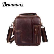 Beaumais Fashion New Men Messenger Bags Leather 2017 Retro Shoulder Bags For Men Genuine Leather Bags Men's travel bags NB009(China)