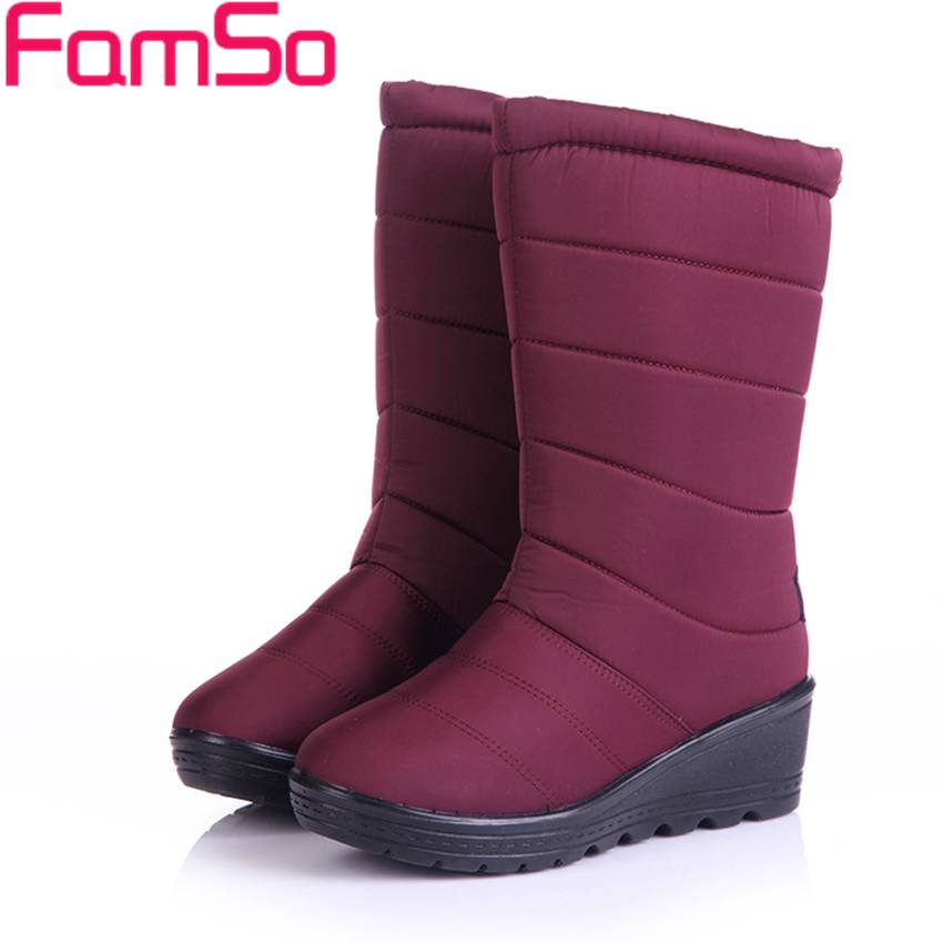 2017 New Shoes Women Boots Black red  Wedges Shoes Female Riding Boots Winter Russia Keep Warm Waterproof Snow Boots  BST96<br><br>Aliexpress