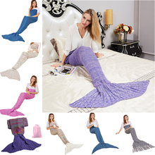 13 Option Yarn Knitted Mermaid tail Blanket Crochet Blanket Adult&Kids Size Throw Bed Wrap Sleeping Bag with Outside bag(China)
