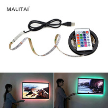 1Pcs USB Powered  5V RGB LED Strip light 60leds/m 3528 SMD Non-Waterproof Tape For TV Background Lighting With Remote Controller