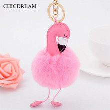 Pompon Flamingo Keychain Bunny Pink & White Fur ball Purse Accessories Key chain Charm Handbag Pendant Accessories Boutique Gift
