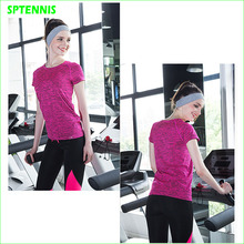Woman Tennis Shirt Short Sleeves Hygroscopic Fitness T-shirt For Badminton Yoga Dance(China)