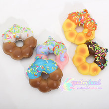 10Pcs/Lot Sprinkles Donuts Jumbo Squishy Slow Rising Sweet Candy Chocolate Scented Bread Phone Straps Charms Kid Fun Toy Gift