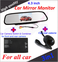 "2 channel car camera video switch for front and rear car camera system and car 4.3"" Car Mirror Monitor and 1 PCS rear camera(China)"