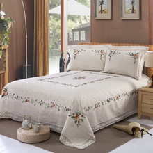 100% Handmade Embroidered Linen Sheet Pillowcase 3 pieces sets   Environmental Protection   No formaldehyde(China)