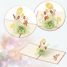 Fashion Design 3D Sunflower Pop up Card Birthday child Greeting Handmade Paper Art Carving High quality KT0124