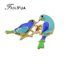 FANHUA Fashion Jewelry Gold-Color Metal with Green Blue Enamel Branch Two Bird Women Brooches Accessories
