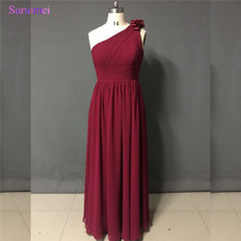 Wine Red Bridesmaid Dresses One Shoulder Scoop Neck Floor Length Burgundy Long Brides Maid Of Honor Dress Free Shipping