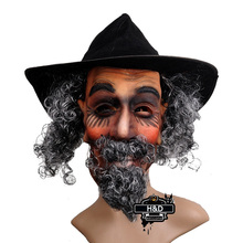Latex Full Head Old Man with Cap Mask Curly Beard Hair Halloween Props Masquerade Fancy Dress Costume Horror Ghost Party Masks(China)