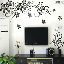 Hot Vine Wall Stickers Flower Wall Decal Removable Art PVC Home Decor living room floral wall sticker TV backdrop decals(China)