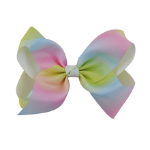 "1Pc 8"" Girls Grosgrain Ribbon Hair Bows Boutique Rainbow Hairpin With Alligator Clip For Teens Kids Child Hair Accessories Gifts"