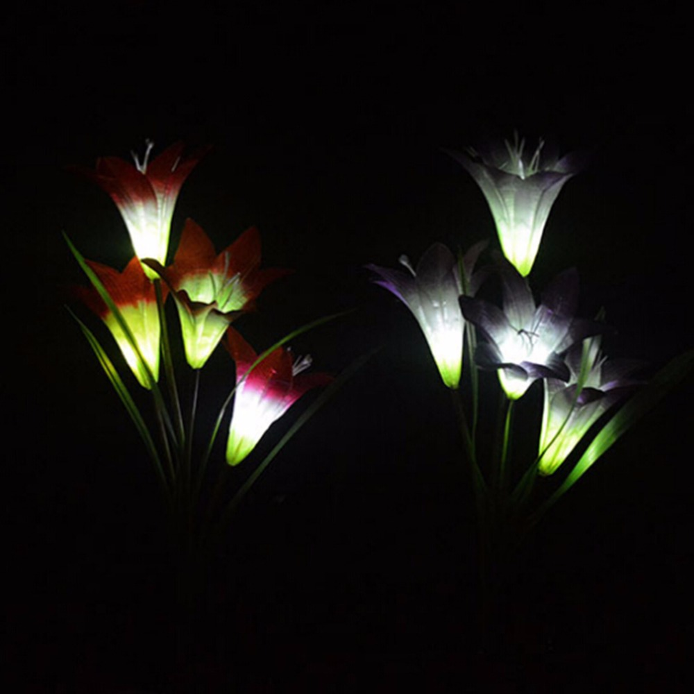 New Solar 3 LED Lily Flower Light Energy Saving Lamps Outdoor Garden Path Yard Decoration Flower Party Lamp