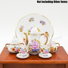 "Odoria 1:6 Miniature 8PCS Porcelain Tea Cup Set Pink Ceramic Tableware Dollhouse Kitchen Accessories for 6"" Dolls"