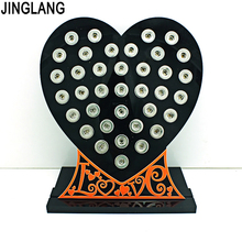 New Arrival Fashion 12mm Snap Button Display Stands Black Acrylic Heart Interchangeable Jewelry Displays Board Free Shipping(China)