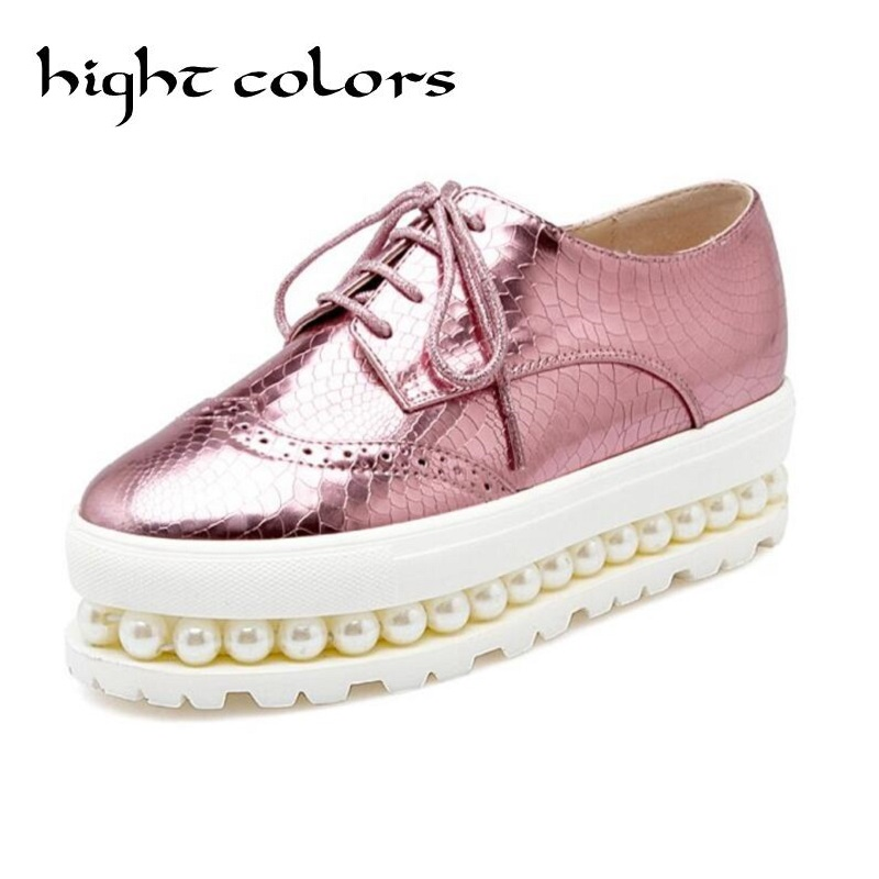 Sliver Pink Oxfords Shoes Woman 2018 Platform Creepers Patent Leather Flats Casual Lace-Up Loafers Round Toe Women Brogue Shoes <br>