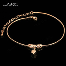 Double Fair Cube Drop Foot/cheville Chain Anklets Bracelets Rose Gold Color Fashion Vintage Jewelry For Women Wholesale DFA030