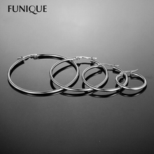 FUNIQUE 1Set (4 Pairs) Hiphop Big Large Hoop Earrings Hook Women Earings Basketball Wives Earrings Silver & Golden 20/30/35/45mm