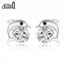 Effie Queen Free Shipping Stud Earring with AAA Austrian CZ Crystal Dolphin Earrings for Women Jewelry PE09(China)