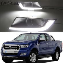 Car Flashing 1 Set Car LED Daytime Running Lights DRL For Ford Ranger 2015 2016 Auto Fog Lamp cover With Yellow Turn Signal(China)