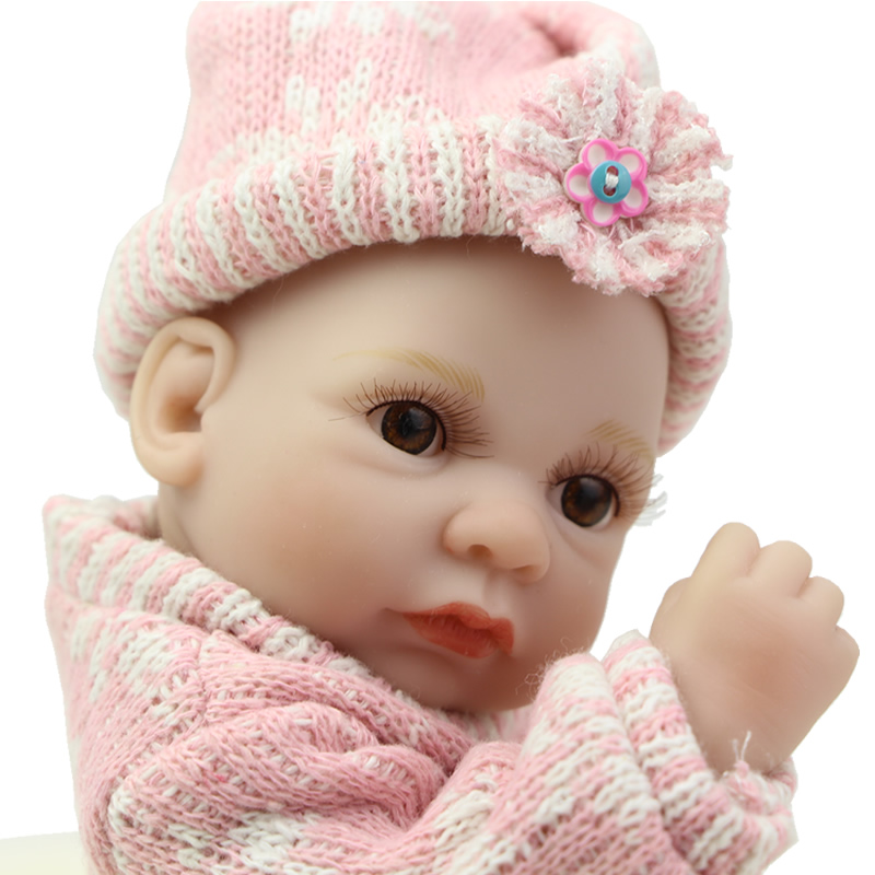Stylish 11 Inch Mini Reborn Girl Baby Doll Lifelike Full Silicone Vinyl Princess Girls With Pink Clothes Children Birthday Gift<br><br>Aliexpress