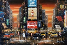 100% hand painted Times Square Sunset New York Manhattan decoration Oil Painting free shipping High quality