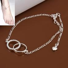 Wholesale beach wedding sandals bijoux ankle bracelets for women double circle crystals foot jewelry slave anklet