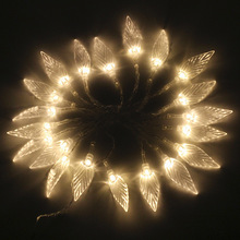Waterproof Romantic 5M 28 LED Leaves Light String Fairy Holiday Lighting Christmas Xmas Party Wedding(China)