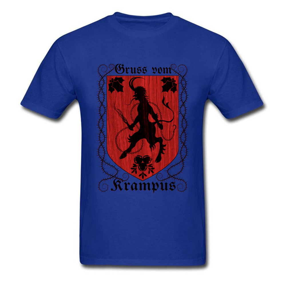 Greetings From Krampus Mens Tshirt Fitted Normal Tops Shirt ostern Day Cotton Fabric Round Collar Tee Shirts Short Sleeve Greetings From Krampus blue