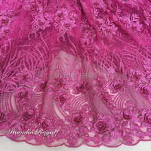 Big Stones in Petals embroidered Cord french lace fabric African tulle sewing net fabric fushia pink high quality 5 yards /piece
