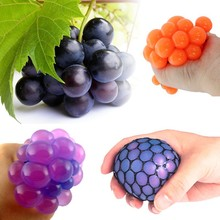 Funny 5cm Stress Ball Novetly Print Squeeze Ball Hand Wrist Exercise Stress Ball PU Toy Balls For Healthy Relax Grape Shape(China)