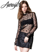 Awaytr Sexy Top Tees Print Star Net Yarn Perspective Longsleeve Top Women Sexy Female T-shirt American Apparel