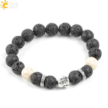 CSJA Hot Natural Black Lava Strand Bracelet Real Volcanic Stone Beads Ancient Silver Color Men Women Jewelry and Gift Box E121