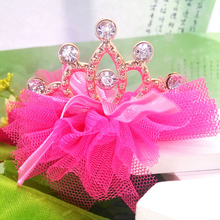 New Design Hot Girls Hair Accessories Shiny Crown Yarn With Bow Chiffon Hairpins Grid Yarn With Ribbon Princess BB Hair Clip