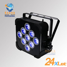 24X HOT SALE High Brightness 9pcs*18W 6in1 RGBAW+UV Battery Powered&Wireless LED Par Light With DMX IN&OUT For Wedding Party(China)