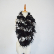 SJ800 Winter Wholesale Black Silver Fox Natural Women Scarf(China)
