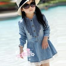 Kids Toddler Baby Girls Long Sleeve Denim Dresses Lace Flower Hem Jeans Dress