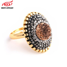 Hot Sale Titanium Rose Gold Natural Stone Quartz Amethysts Crystal Druzy Agates Rings for Women Adjustable Rhinestone Druzy Ring(China)