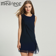 Meaneor Women's Chiffon Dress Summer Autumn Casual Straight O-neck Sleeveless solid A-Line Cocktail Club Party Mini Vestidos