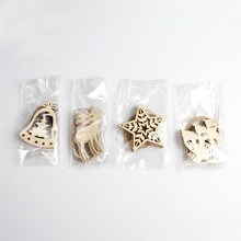 10Pcs Christmas Wood Chip Tree Ornaments Xmas Hanging Pendant Decoration Gifts Wholesale Free Shipping 30RI22