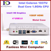 Intel Celeron 1037U Dual Core 1.8Ghz CPU Fanless Mini PC Nettop HTPC Barebone 1080P video USB 3.0 port HDMI VGA Metal Case