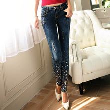 New Large Size Women Pants Female Stretch Pencil ripped hole out studded beaded rhinestone cuff attractive lady western Jeans