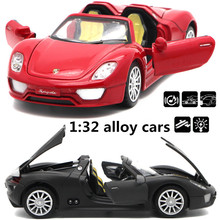 1:32 alloy cars,high simulation 918 convertible car model,metal diecasts,toy vehicles,pull back& flashing&musical,free shipping