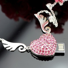 Jewelry Heart Diamond Usb Flash Drive 64GB 32GB 16GB 8GB Pendrive Memory Flash Card Stick Pen Drive Luxury U Disk Girl Gift