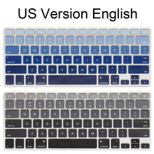 Silicone US version English alphabet Gradient Colors Keyboard Cover Stickers Protector for MacBook Air 13 inch(China)
