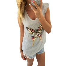 Fashion T shirt Women Bling Sequined 3D Butterfly V-Neck Petal Sleeve Camisetas Mujer Casual Tee Shirt Femme HN7949