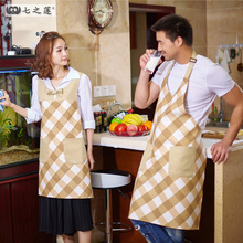 QiZhiLian Women Kitchen Apron Hair Cooking Chef Aprons Tablier Delantal Avental Cozinha Couple Aprons With Pockets Customizable